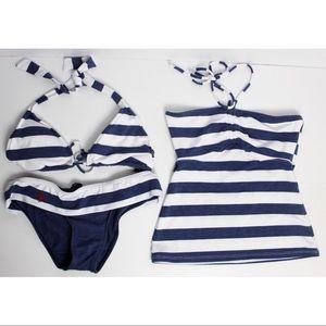 Ralph Lauren 3 Piece Striped Bikini Swim Tankini